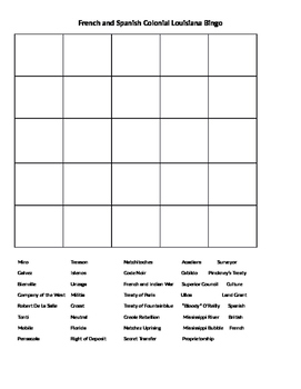 French and Spanish Colonial Louisiana Bingo Review Game
