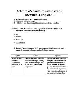 French audio dictee activity