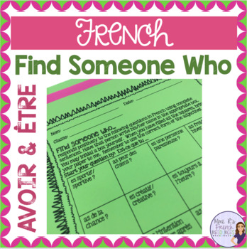 French speaking activity - find someone who...avoir and être