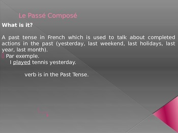 French francais passe compose past tense presentation and