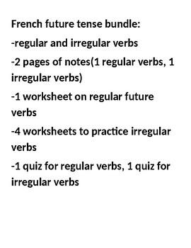 French future tense regular and irregular notes, worksheet