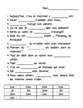 French homophones worksheet