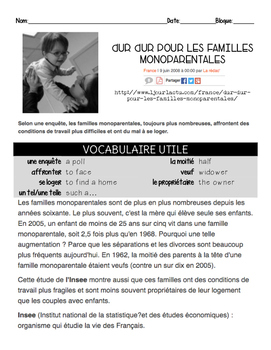 French intermediate reading activity: SINGLE PARENT FAMILIES #1