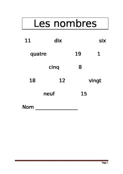French numbers 0-20