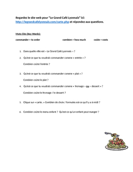 French reading comprehension: French web site activity (re