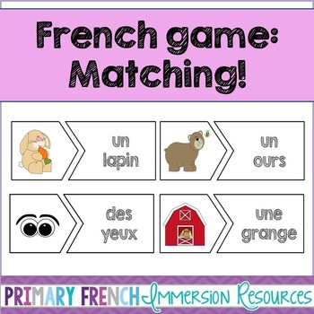 French reading game - Match the picture to the word - Jeu