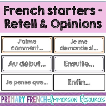 French sentence starters for retell and opinion cards - Le