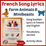 French Immersion - Song Lyric booklet - Farm Animals & Min