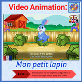 French song in video animation - Mon petit lapin - Popular