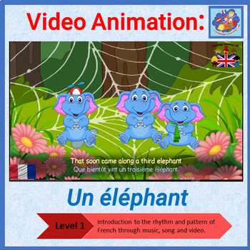French song in video animation - Un éléphant - Learn French
