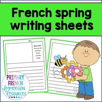 French spring vocabulary writing - Feuilles d'écriture de