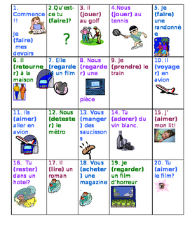 French verb board game