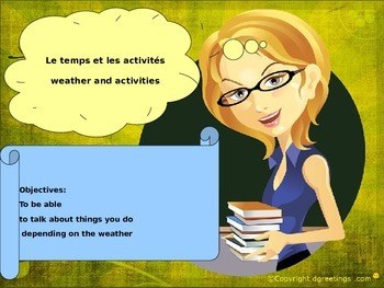 French weather and activities for beginners, le temps et l