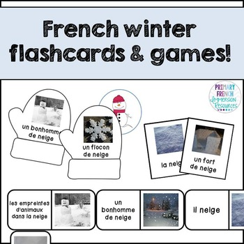 """French winter / l'hiver - flashcards, """"bug in a rug"""", and dominos"""