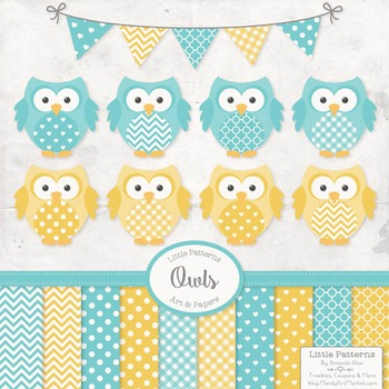 Fresh Aqua & Yellow Owl Vectors & Papers - Owl Clipart, Ow