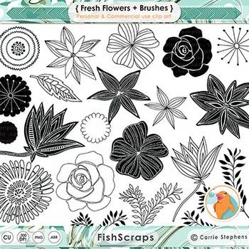 Fresh Flower Black and White Digital Stamps, Flower Line A