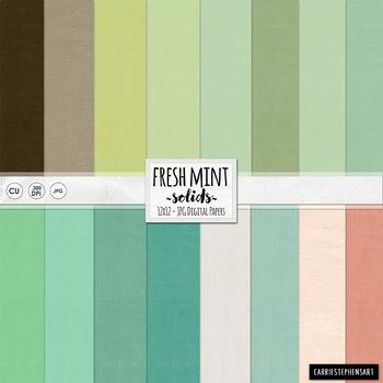 Fresh Mint Solid Digital Paper, Solid Cardstock Background