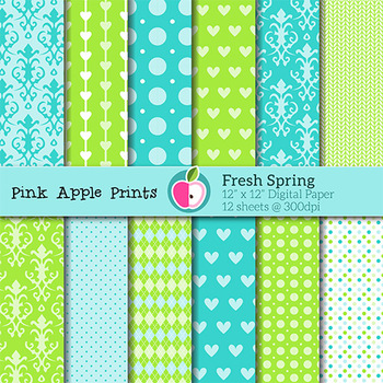 Fresh Spring Pattern Digital Papers Set: Graphics for Teachers