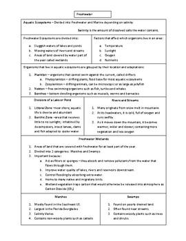 Freshwater Ecosystem Notes