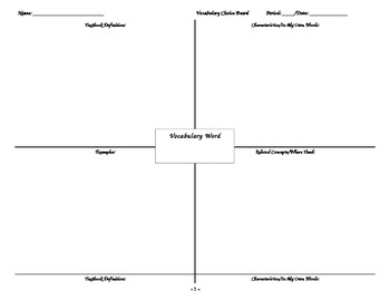 Freyer Vocabulary Template - Word format