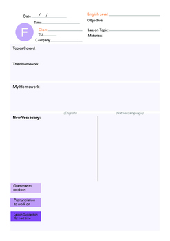 Friday English Lesson Plan Template