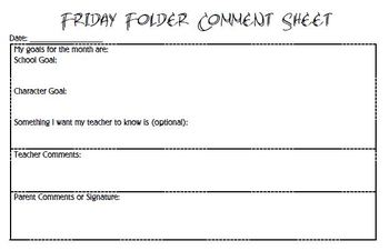 Friday Folder Comment Sheet