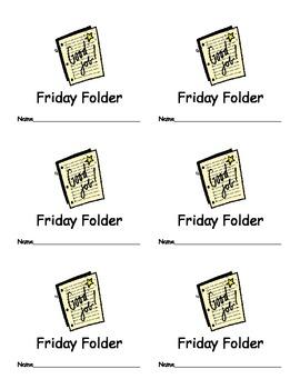 Friday Folder Labels for Classroom Organization Classroom