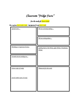 "Classroom Newsletter - ""Fridge Facts"""