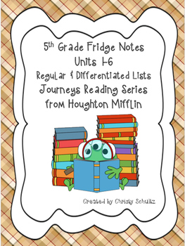 5th Grade Spelling & Vocab. Lists for Journeys 2017 Readin