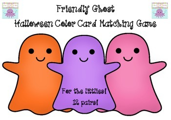 Friendly Ghost Halloween Color Card Matching Game For Pre