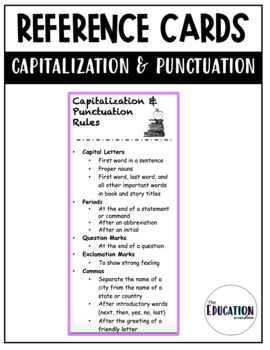 Capitalization and Punctuation Reference Card