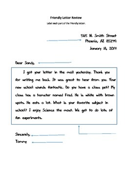 Friendly Letter Review Worksheet