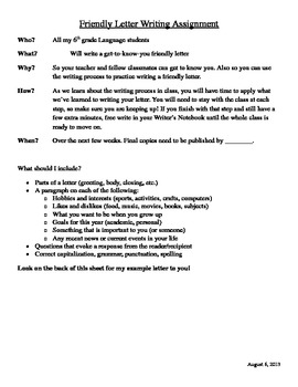 Friendly Letter Writing Assignment