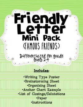Friendly Letter Writing ~ Mini-Pack