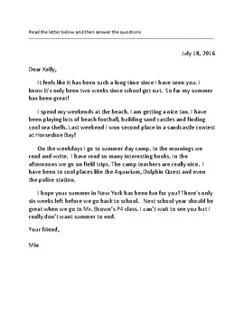 Friendly Letter and Invitation Reading Comprehension