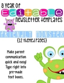Editable Newsletter Templates (12 included): Friendly Mons
