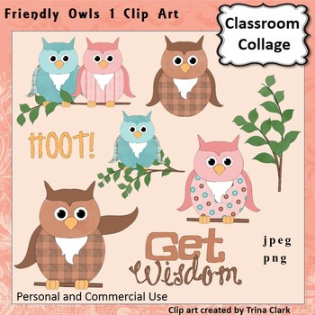 Friendly Owls Dressed Up Clip Art - Color  personal & comm