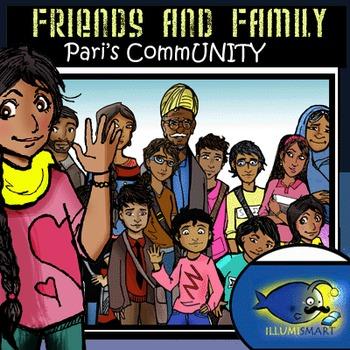 Friends and Family-Pari's CommUNITY: 34 pc. Clip-Art BW an