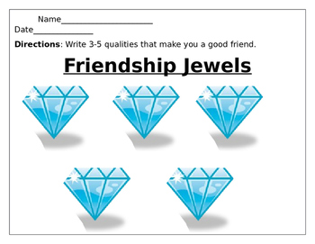 Friendship Jewels worksheet
