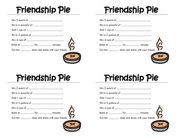Friendship Pie Recipe Cards