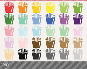 Fries Digital Clipart, Fries Graphics, Fries PNG, Rainbow
