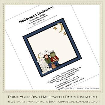 Fright Nite Printable Halloween Party Invitation 1