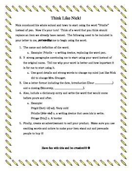 Frindle Writing Project