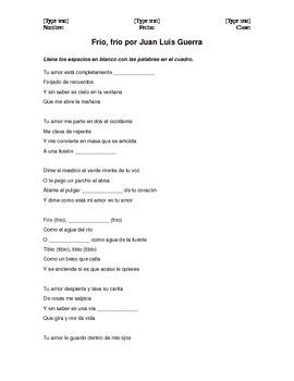 """Frío, frío"" by Juan Luis Guerra cloze activity"