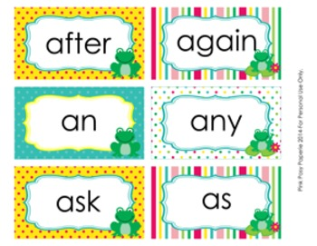 Frog 1st Grade Dolch Sight Wall Words