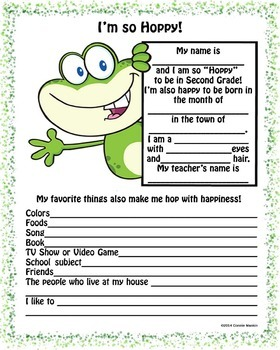 Frog Back To School Second Grade All About Me Printable Wo