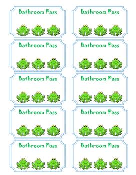 Frog Bathroom Passes