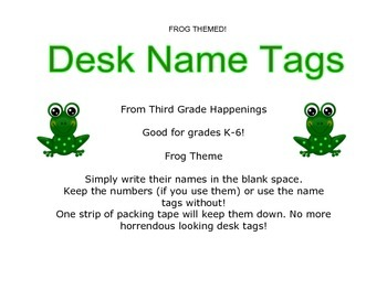 Frog Desk Name Tags