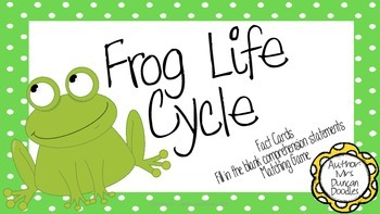 Frog Life Cycle - Comprehension Qs, Matching Game, Info Ca