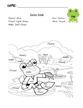 Frog Sight Word Color Code